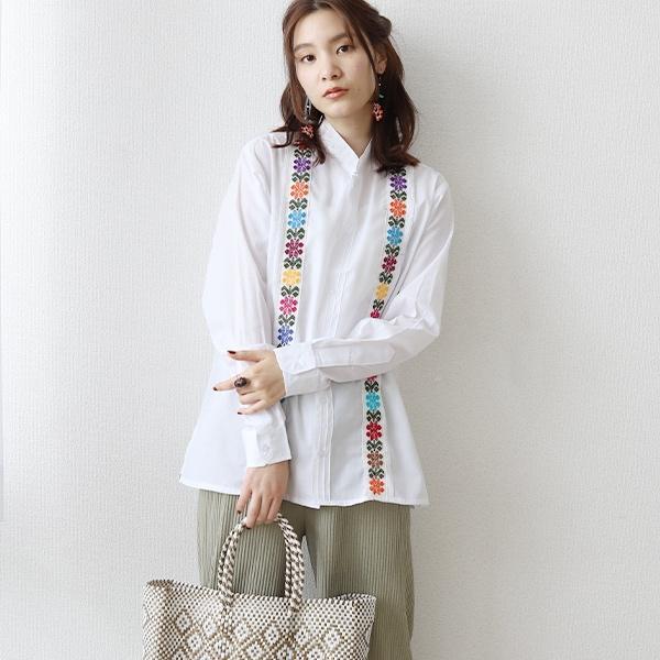 刺繍シャツとメルカドバッグ