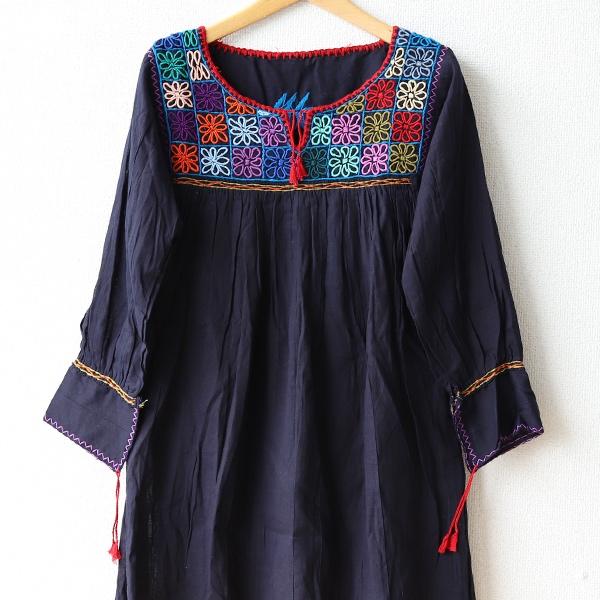 メキシコ刺繍ブラウス*ネイビー/ブラック